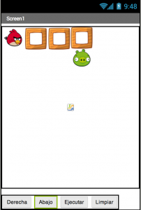angry bird game sample image in which bird is trying to reach the pig in MIT app inventor