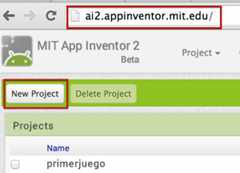 showing how to create a new project in MIT app inventor 2