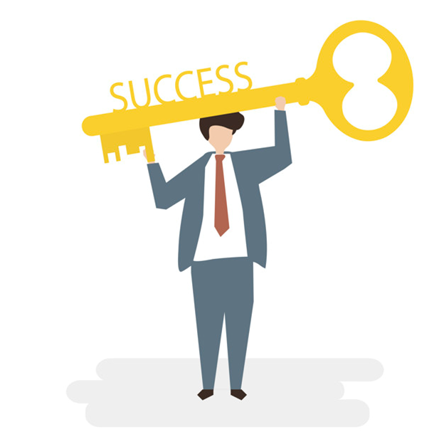 A person holding large key of success like an award