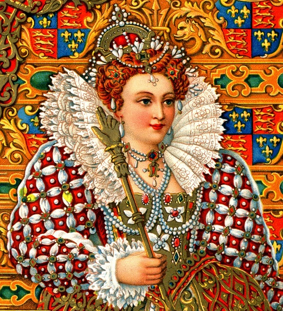 queen Elizabethan posing in the picture with tradition clothes of her era
