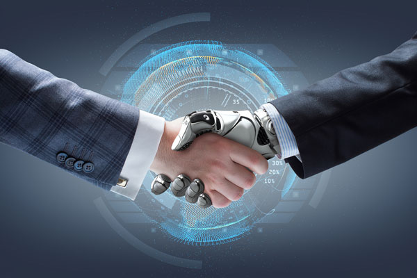 a human and future technologies handshake showing How a business can be more productive?