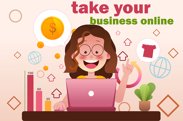 a girl with her pink laptop taking her business online