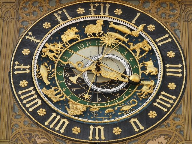 a clock on tower with all zodiac signs