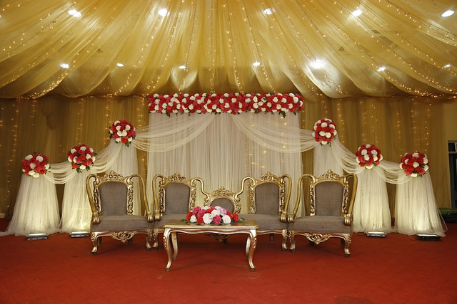 wedding stage decorated with flowers