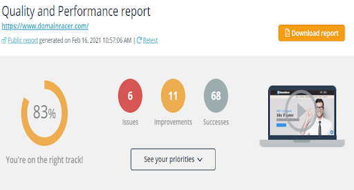 Quality performance report of Dmainracer