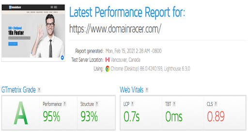 Speed test of domainracer