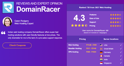 Review and expert opinion on domainracer