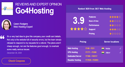 Review and expert opinion on go4hosting