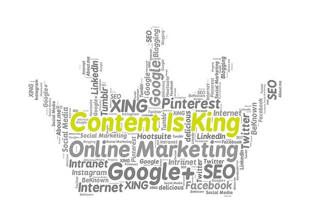a crown with lots of renowned sites names showing that content is king